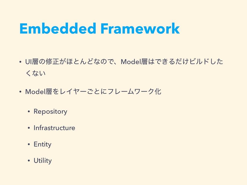 Embedded Framework • UIͷमਖ਼͕΄ͱΜͲͳͷͰɺModelͰ͖Δͩ...