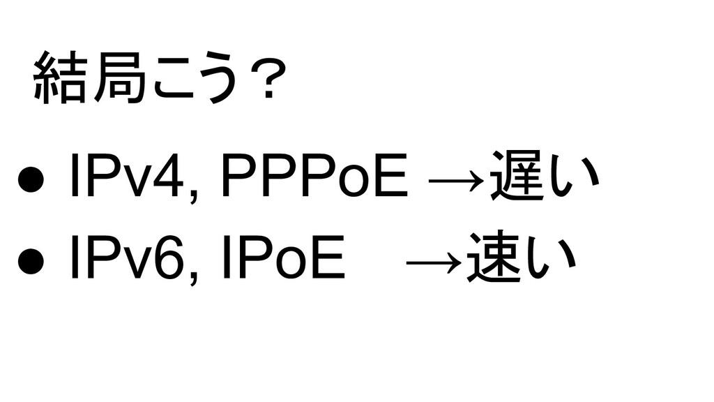 結局こう? ● IPv4, PPPoE →遅い ● IPv6, IPoE  →速い