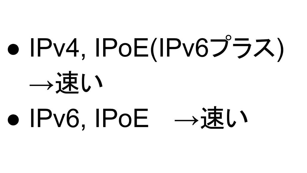 ● IPv4, IPoE(IPv6プラス) →速い ● IPv6, IPoE  →速い