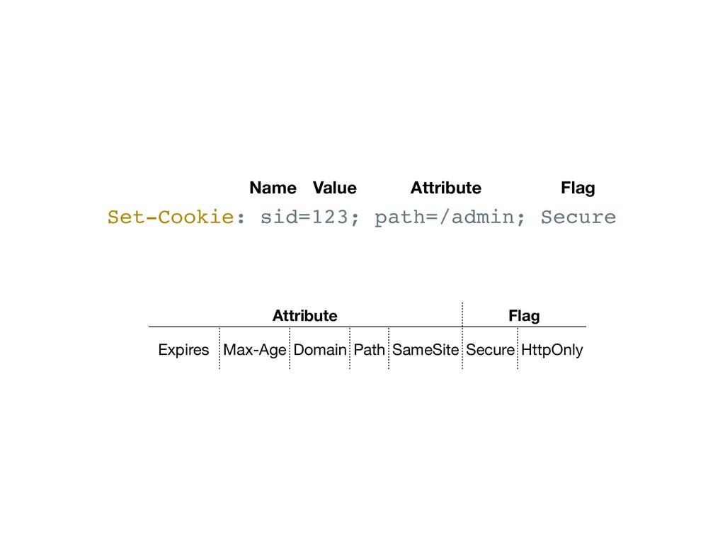 Set-Cookie: sid=123; path=/admin; Secure Name V...