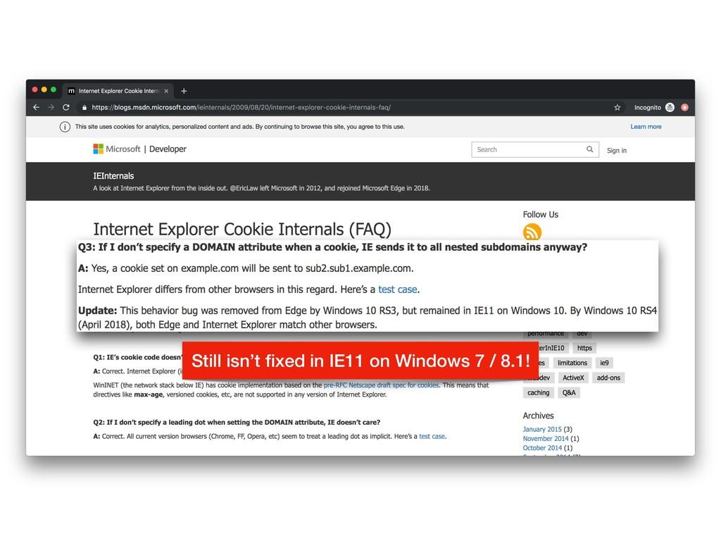 Still isn't fixed in IE11 on Windows 7 / 8.1!