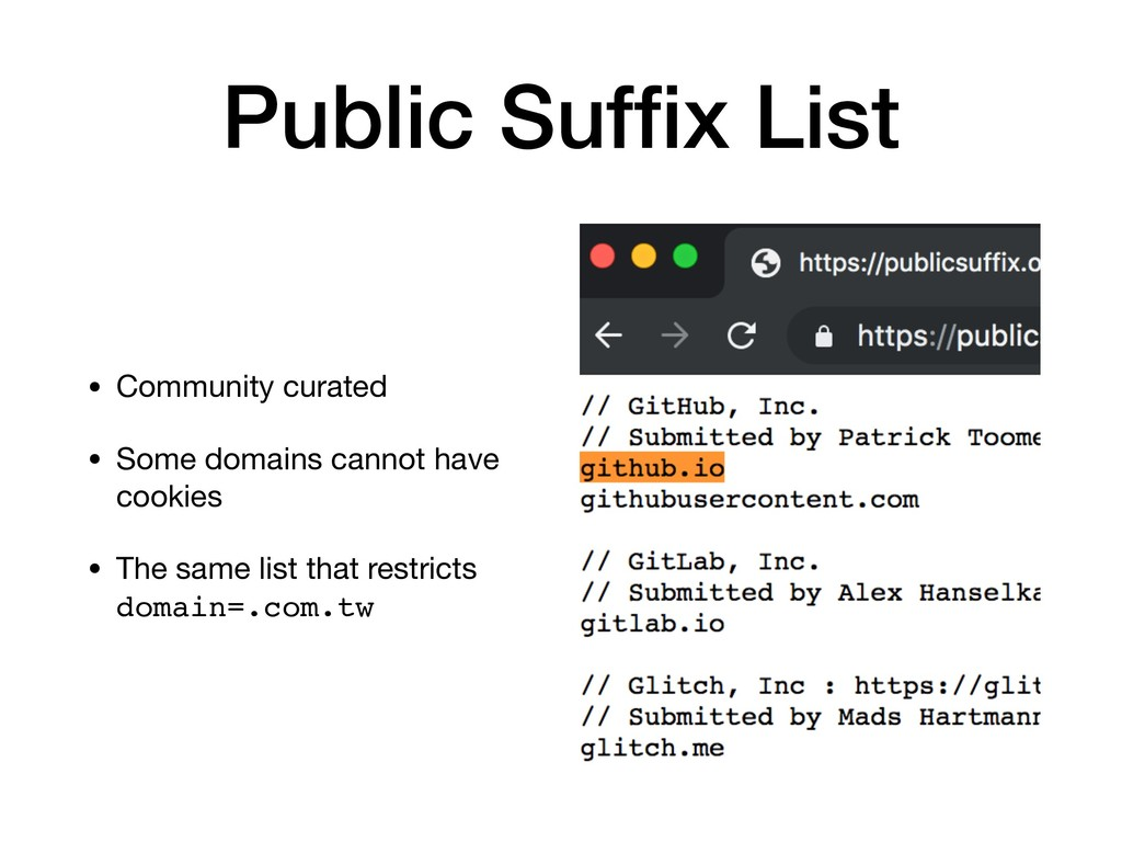 Public Suffix List • Community curated  • Some d...
