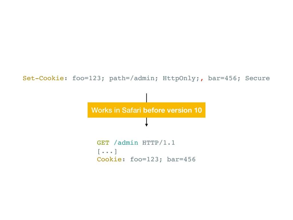 Set-Cookie: foo=123; path=/admin; HttpOnly;, ba...