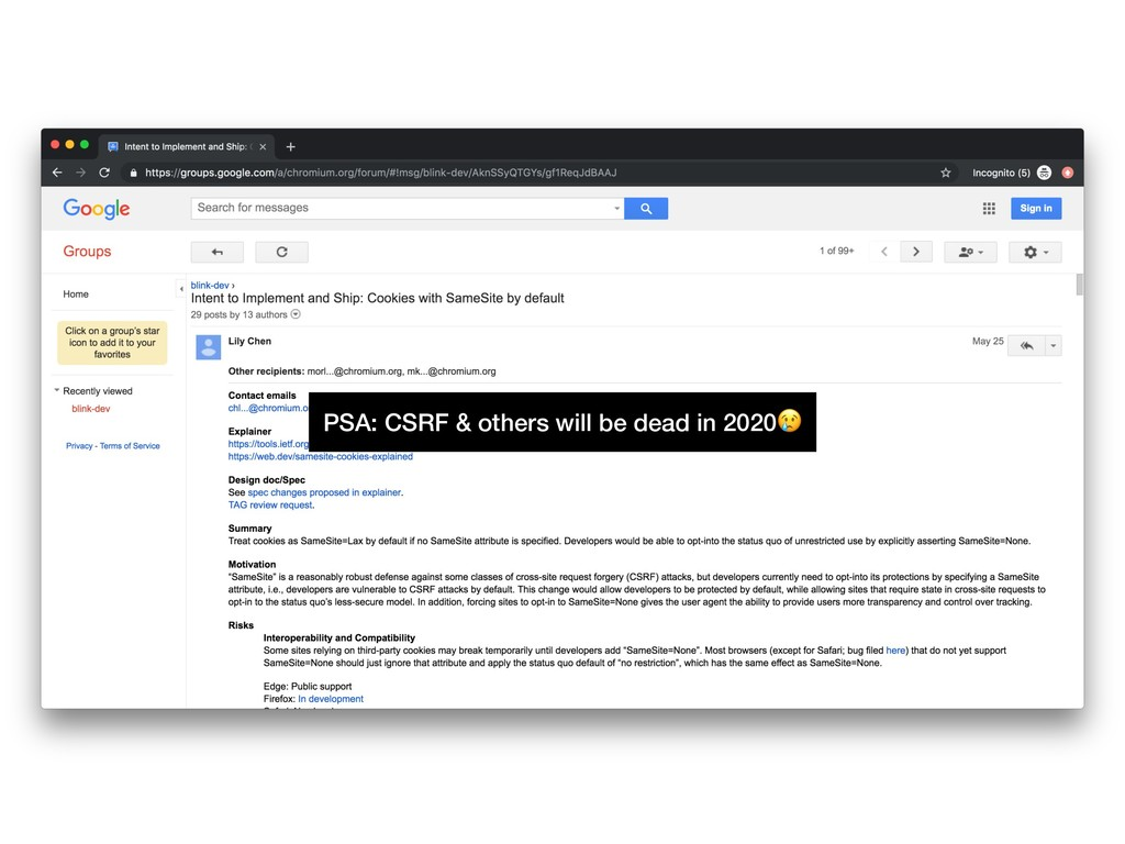 PSA: CSRF & others will be dead in 2020