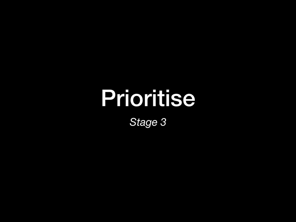 Prioritise Stage 3