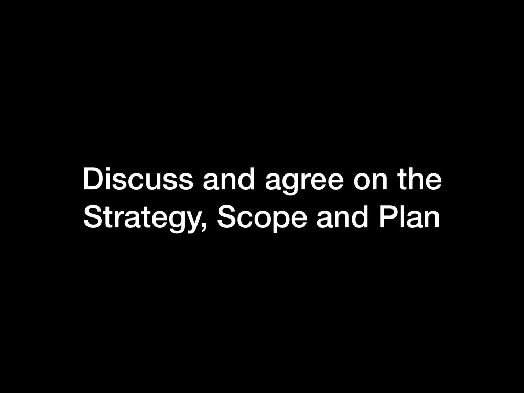Discuss and agree on the Strategy, Scope and P...