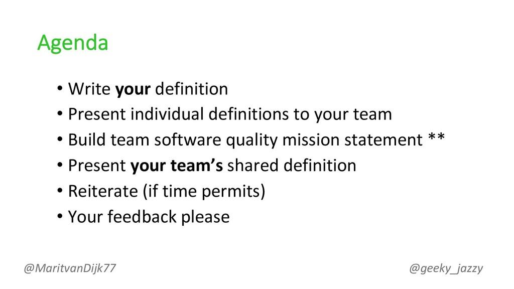 Agenda • Write your definition • Present indivi...