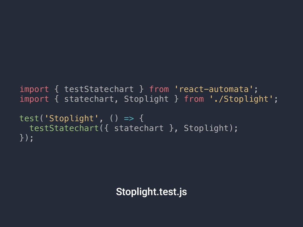 import { testStatechart } from 'react-automata'...