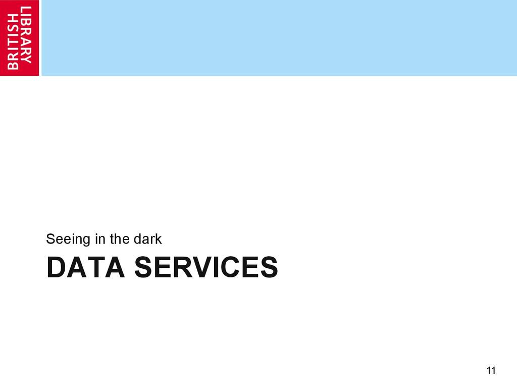 DATA SERVICES Seeing in the dark 11