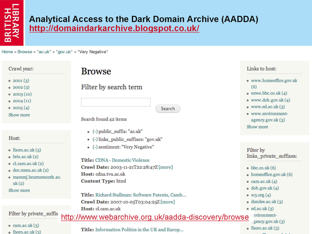 Analytical Access to the Dark Domain Archive (A...