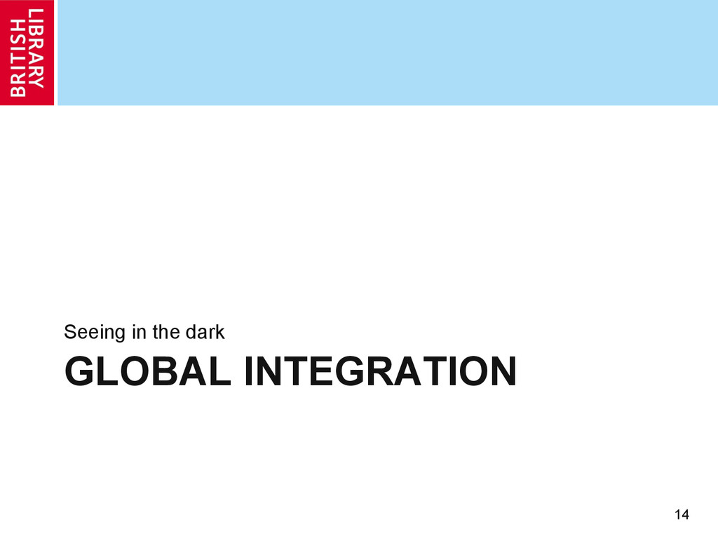 GLOBAL INTEGRATION Seeing in the dark 14