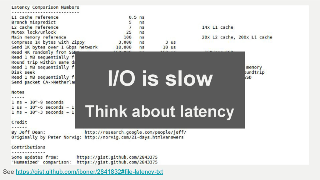 I/O is slow Think about latency See https://gis...