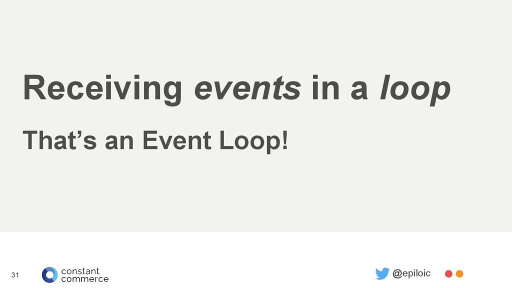 Receiving events in a loop That's an Event Loop...