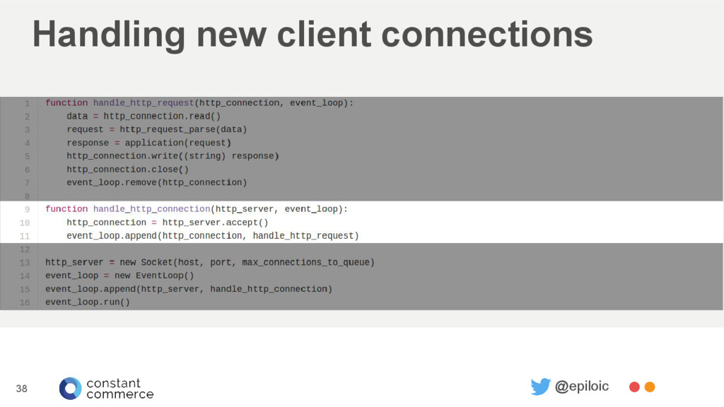 Handling new client connections 38 @epiloic