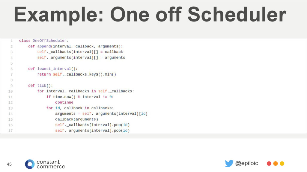 Example: One off Scheduler 45 @epiloic