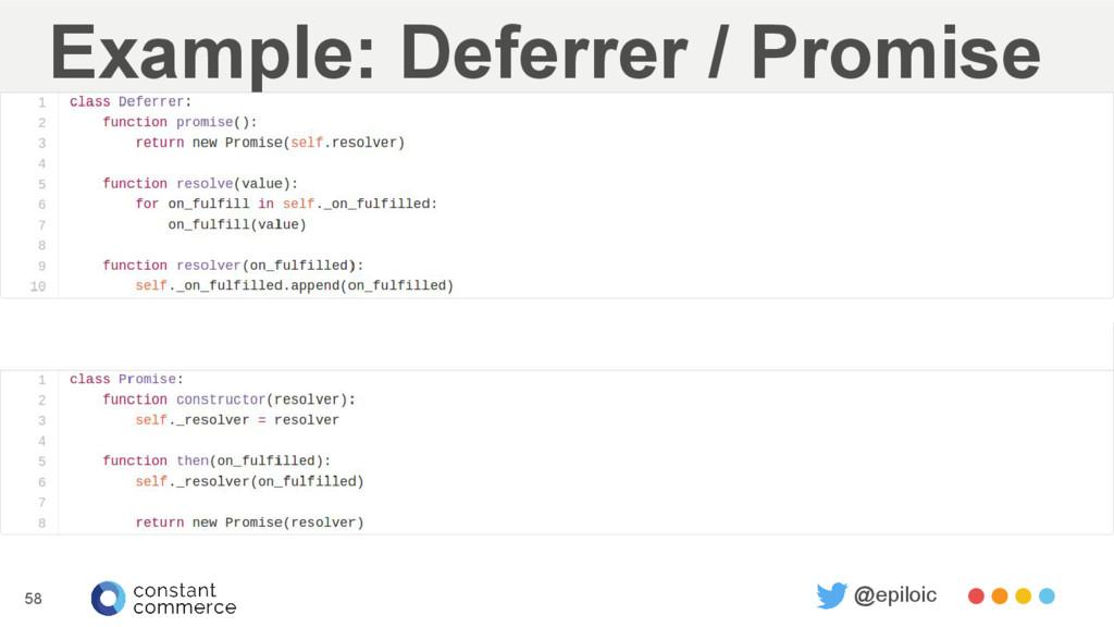 Example: Deferrer / Promise 58 @epiloic
