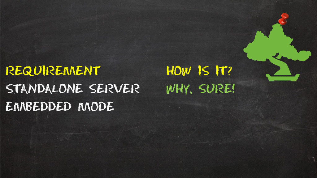 Requirement How is it? Standalone server Why, s...