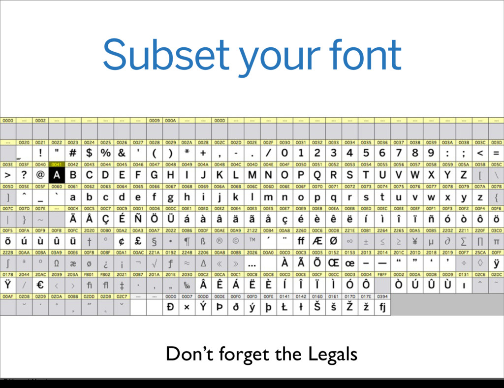 Subset your font Don't forget the Legals Friday...