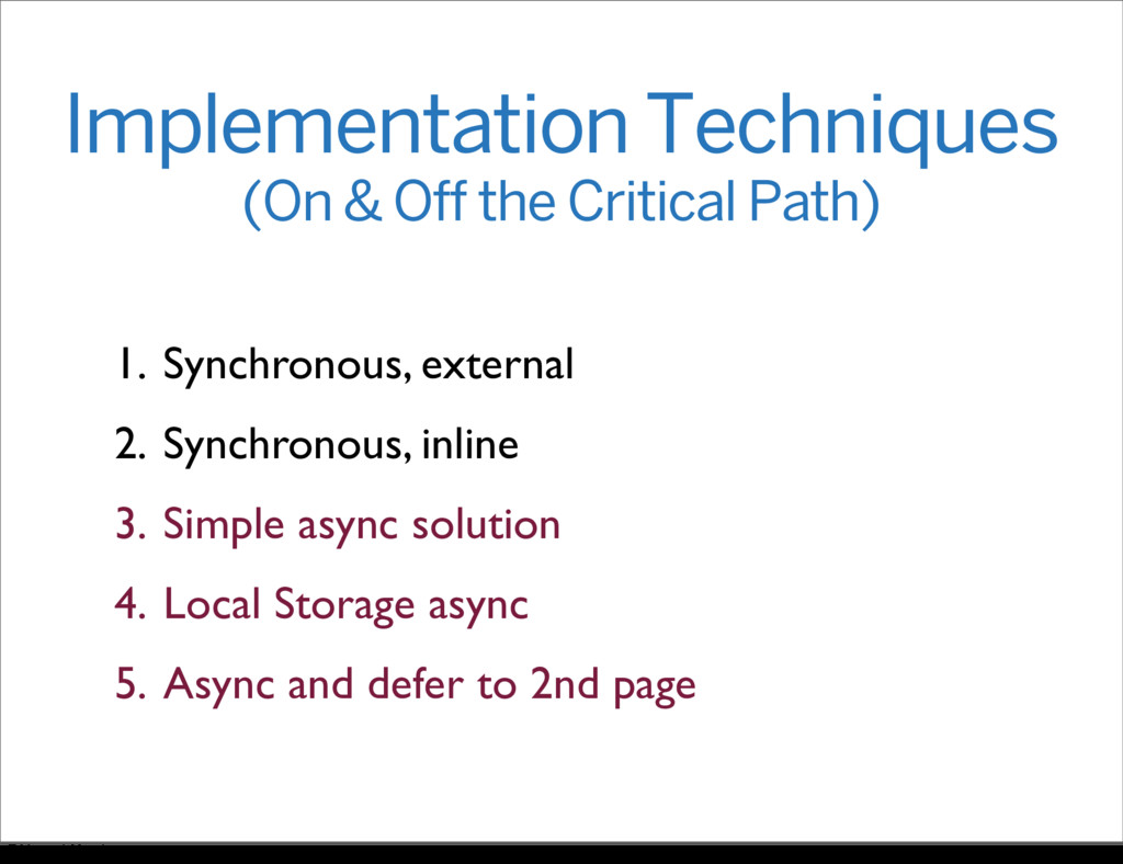 Implementation Techniques (On & Off the Critica...