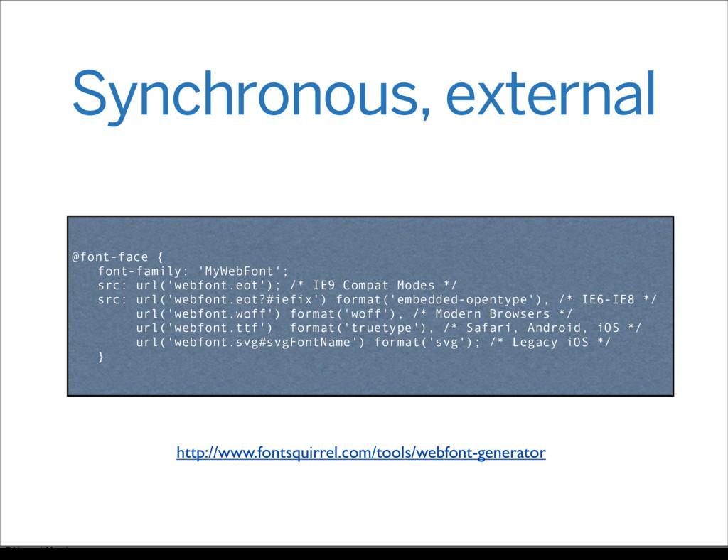 Synchronous, external @font-face { font-family:...