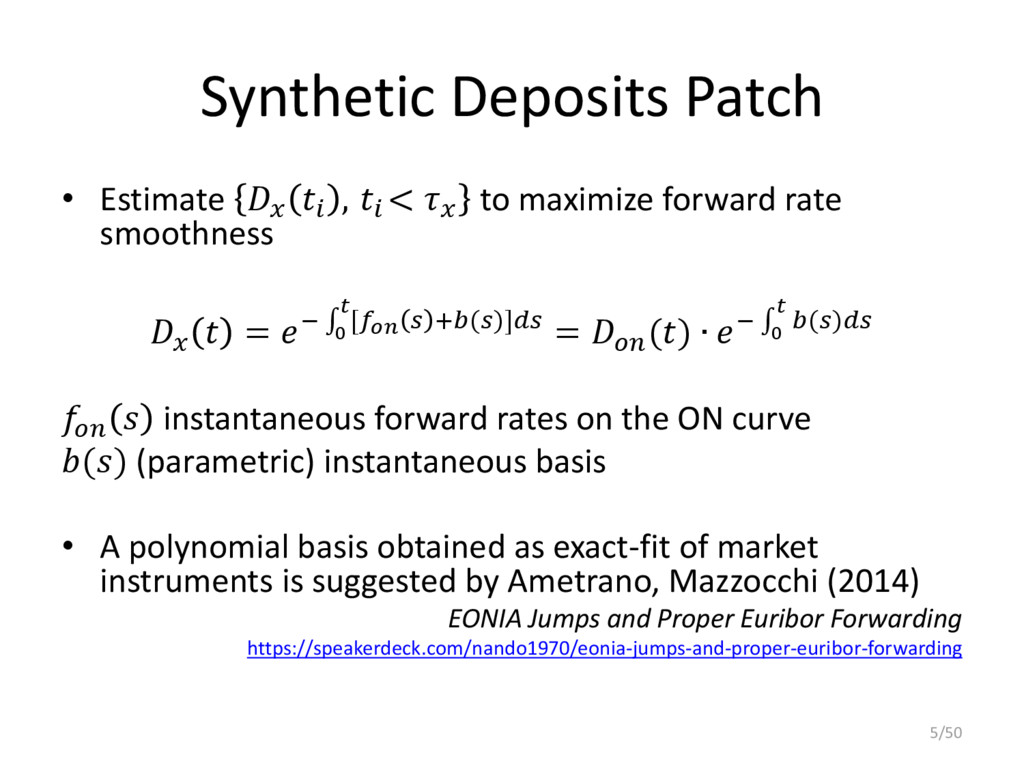 Synthetic Deposits Patch • Estimate   ,  <  to ...