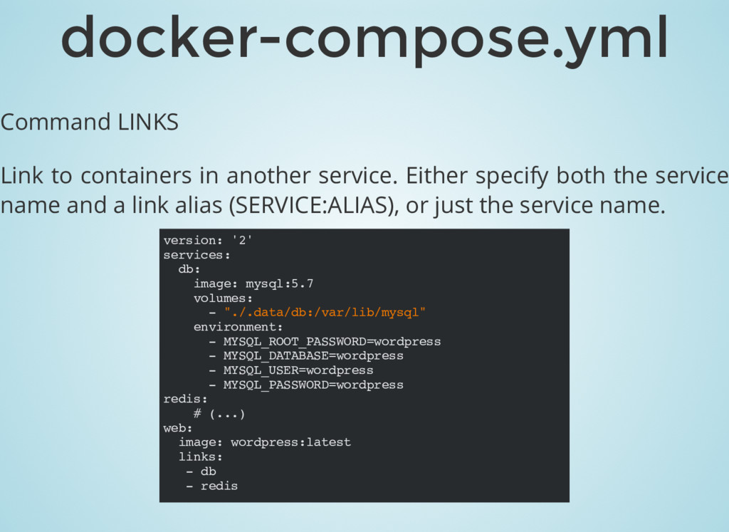 Command LINKS Link to containers in another ser...