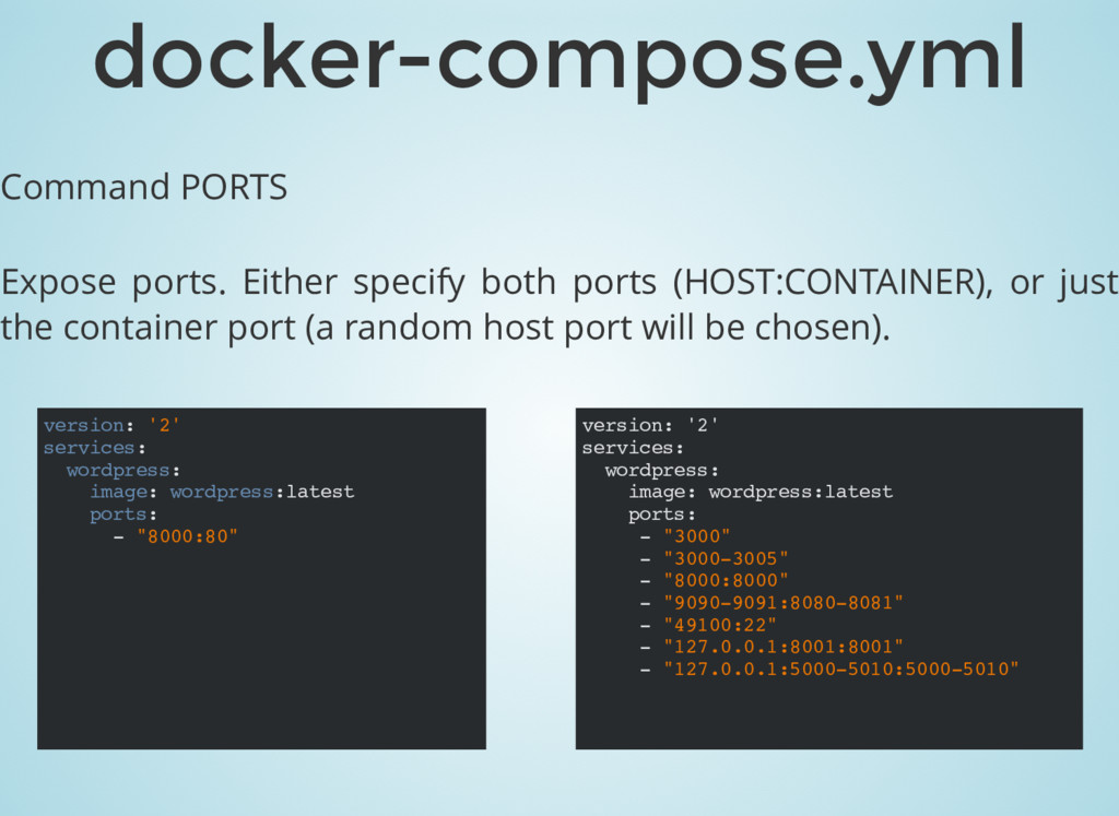 Command PORTS Expose ports. Either specify both...