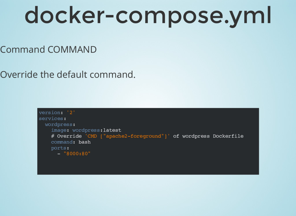 Command COMMAND Override the default command. d...