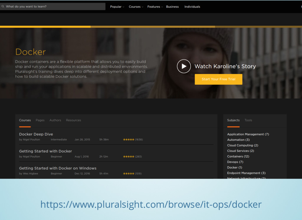 https://www.pluralsight.com/browse/it-ops/docker