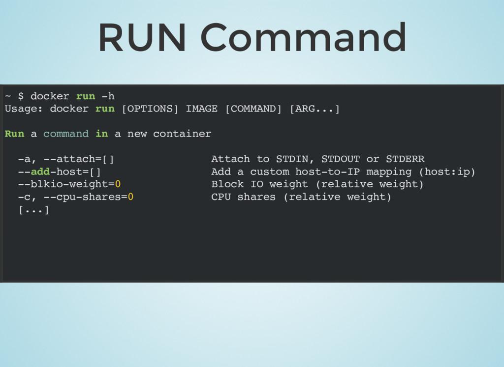 RUN Command ~ $ docker run -h Usage: docker run...