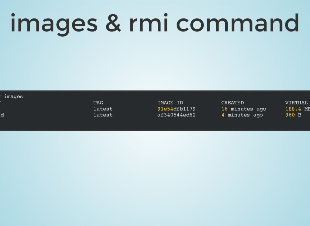 images & rmi command r images Y TAG IMAGE ID CR...