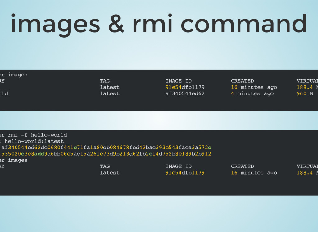 images & rmi command er images RY TAG IMAGE ID ...