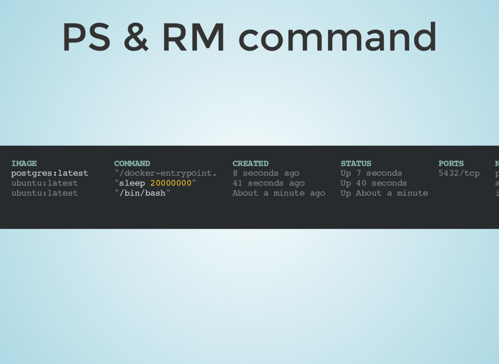 PS & RM command IMAGE COMMAND CREATED STATUS PO...