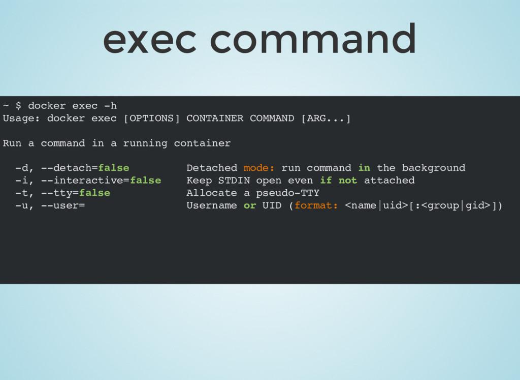 exec command ~ $ docker exec -h Usage: docker e...
