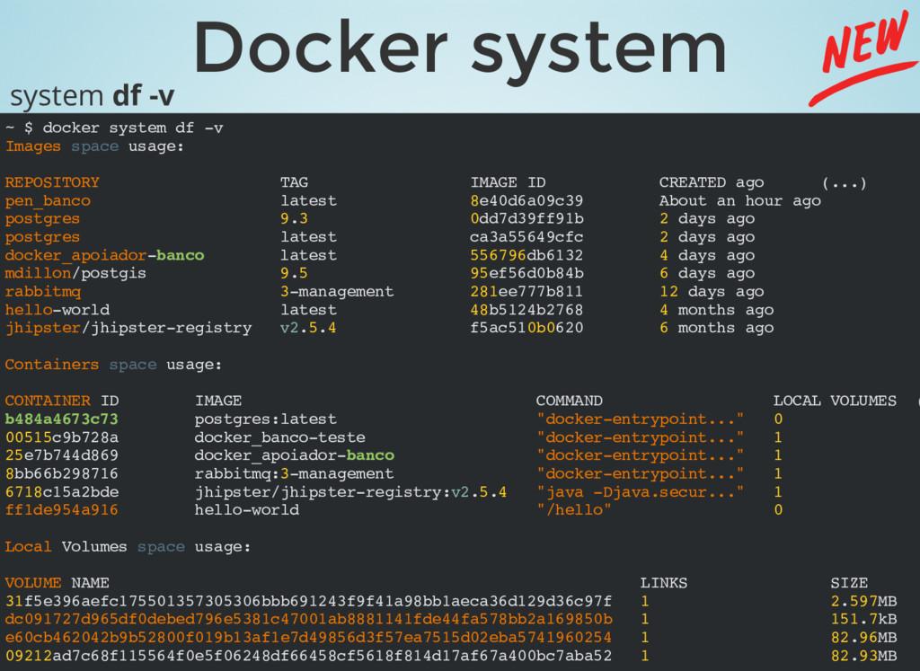 Docker system ~ $ docker system df -v Images sp...