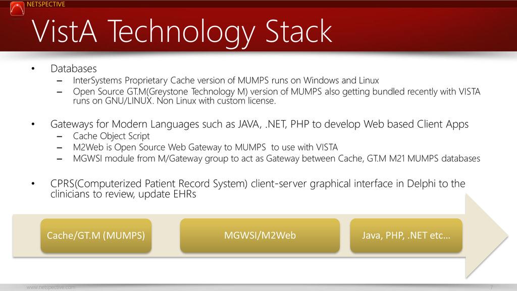 NETSPECTIVE www.netspective.com 7 VistA Technol...
