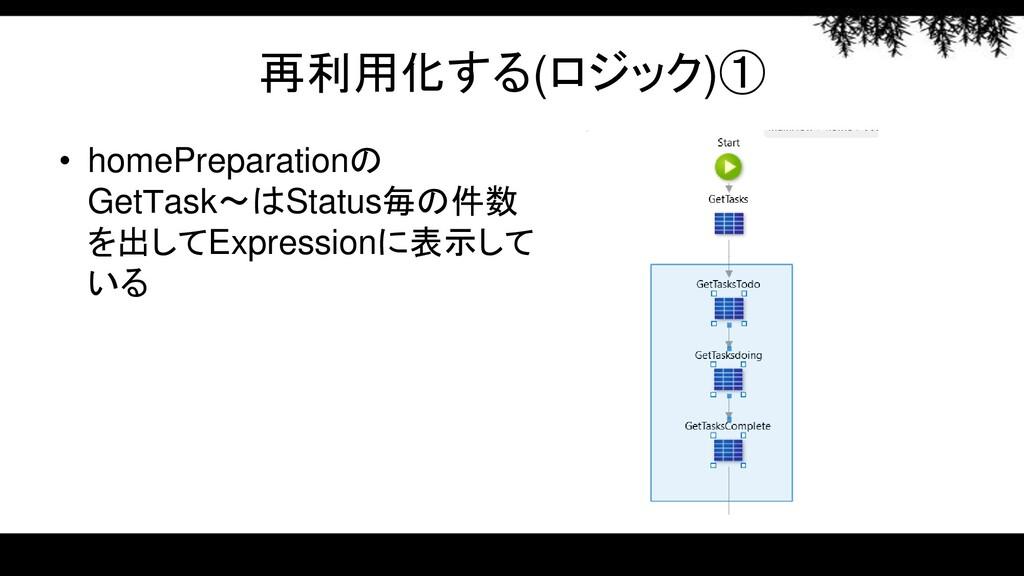 再利用化する(ロジック)① • homePreparationの GetTask~はStatu...