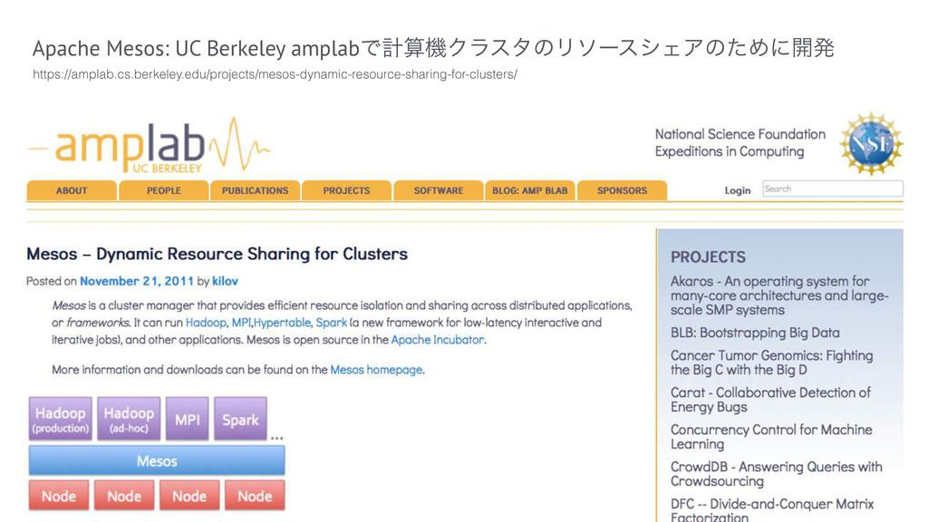 Apache Mesos: UC Berkeley amplabͰܭػΫϥελͷϦιʔεγΣ...