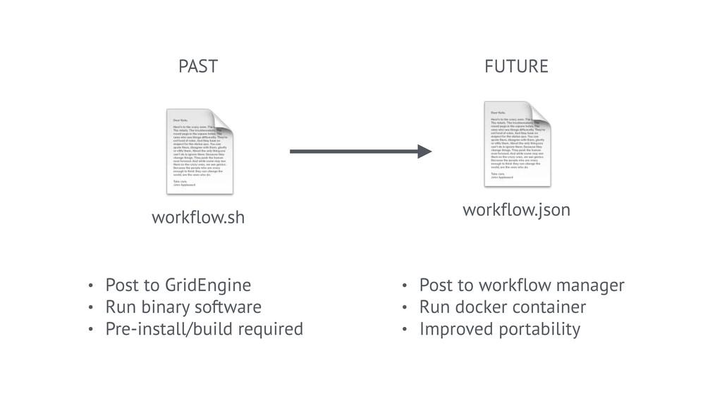 workflow.json  workflow.sh PAST FUTURE • Post ...