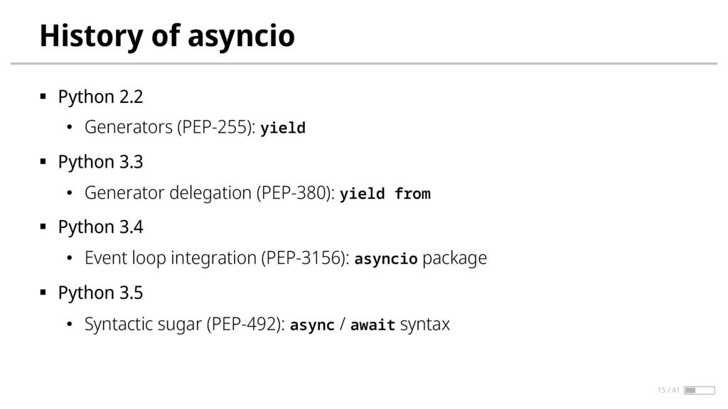 History of asyncio § Python 2.2 • Generators (P...