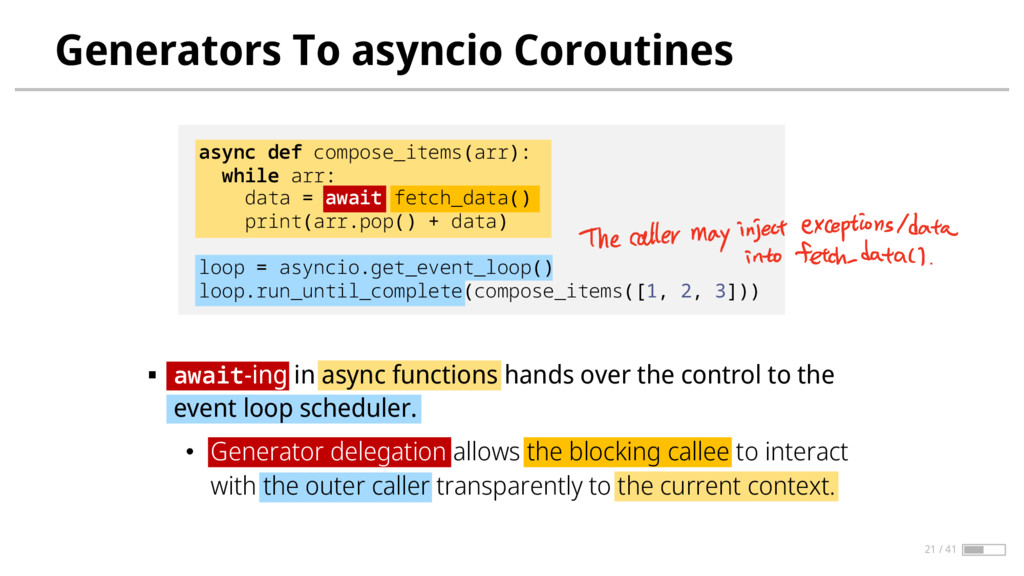 Generators To asyncio Coroutines § await-ing in...