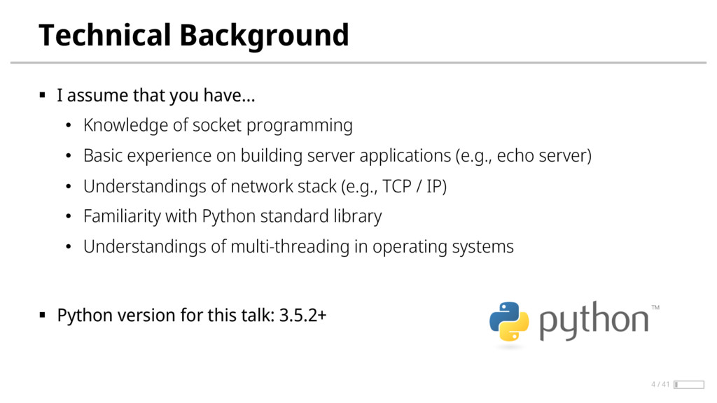 Technical Background § I assume that you have… ...