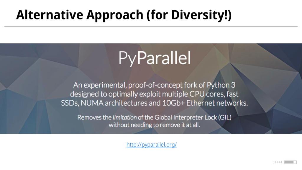Alternative Approach (for Diversity!) http://py...