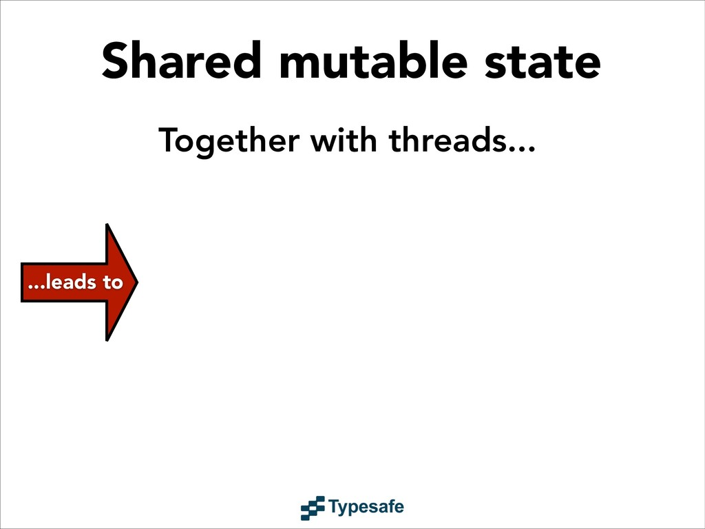 Shared mutable state ...leads to Together with ...