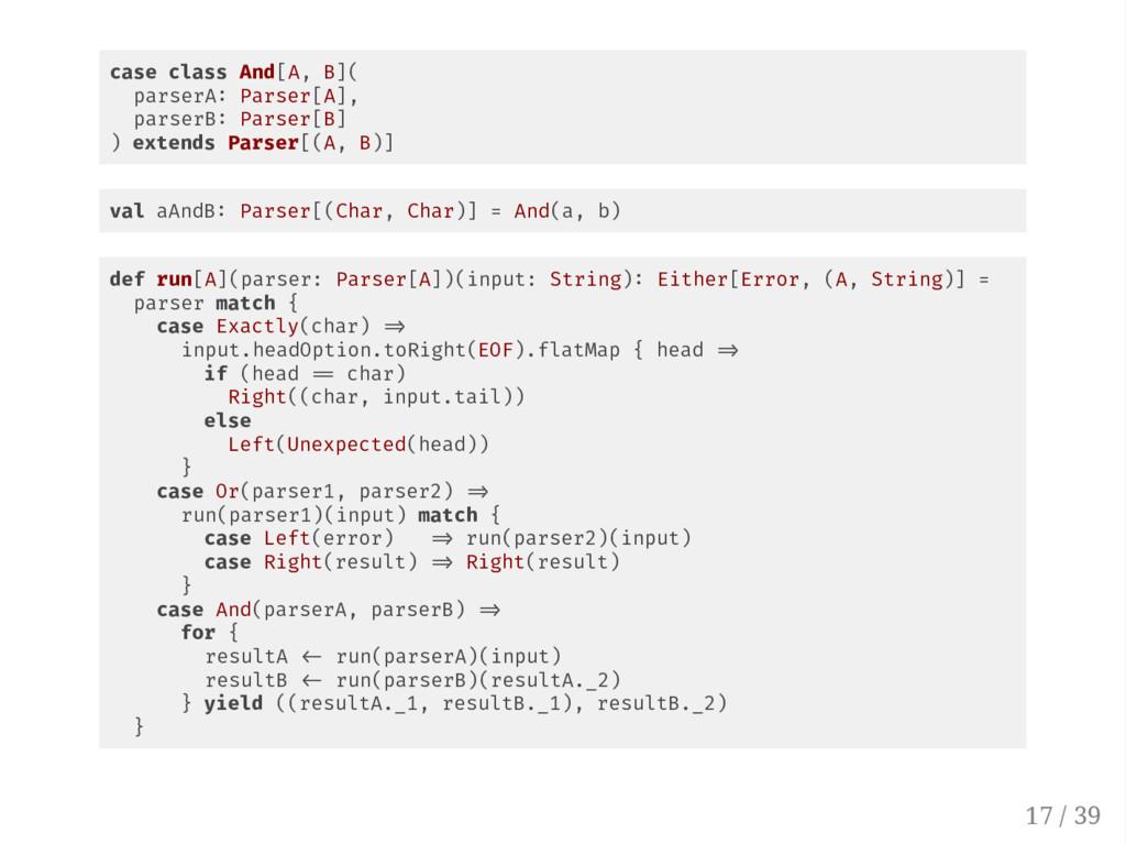 case class And[A, B]( parserA Parser[A], parser...