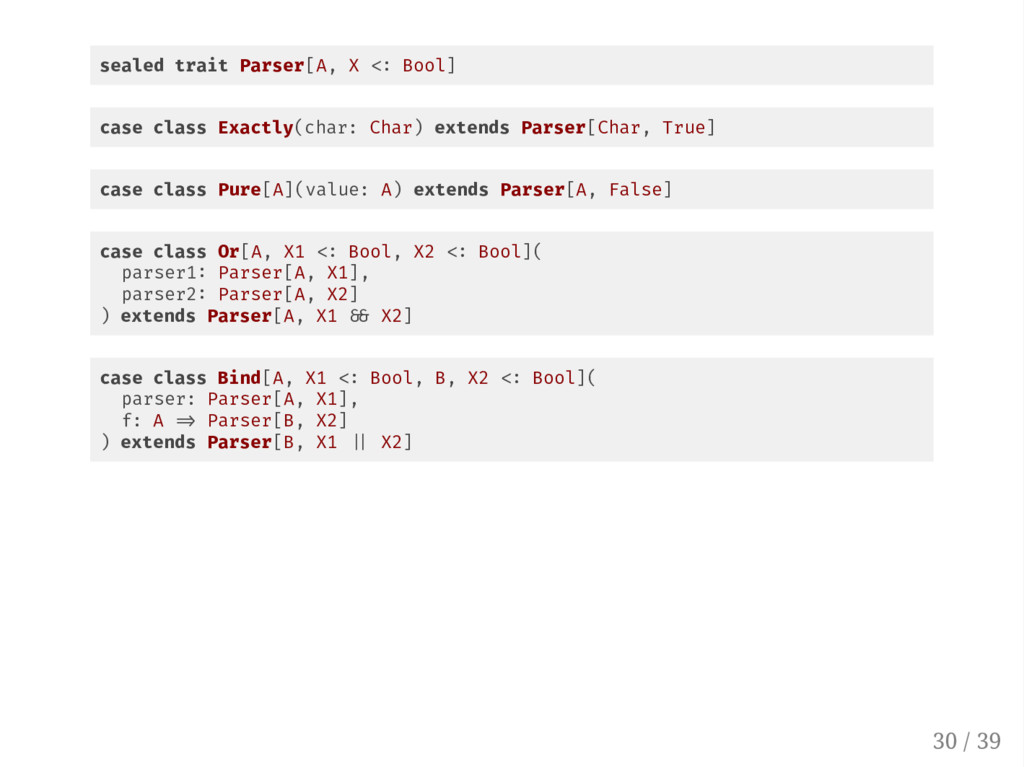 sealed trait Parser[A, X Bool] case class Exact...