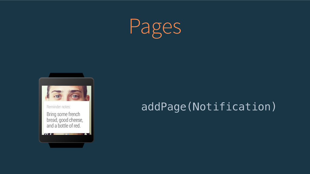 Pages addPage(Notification)