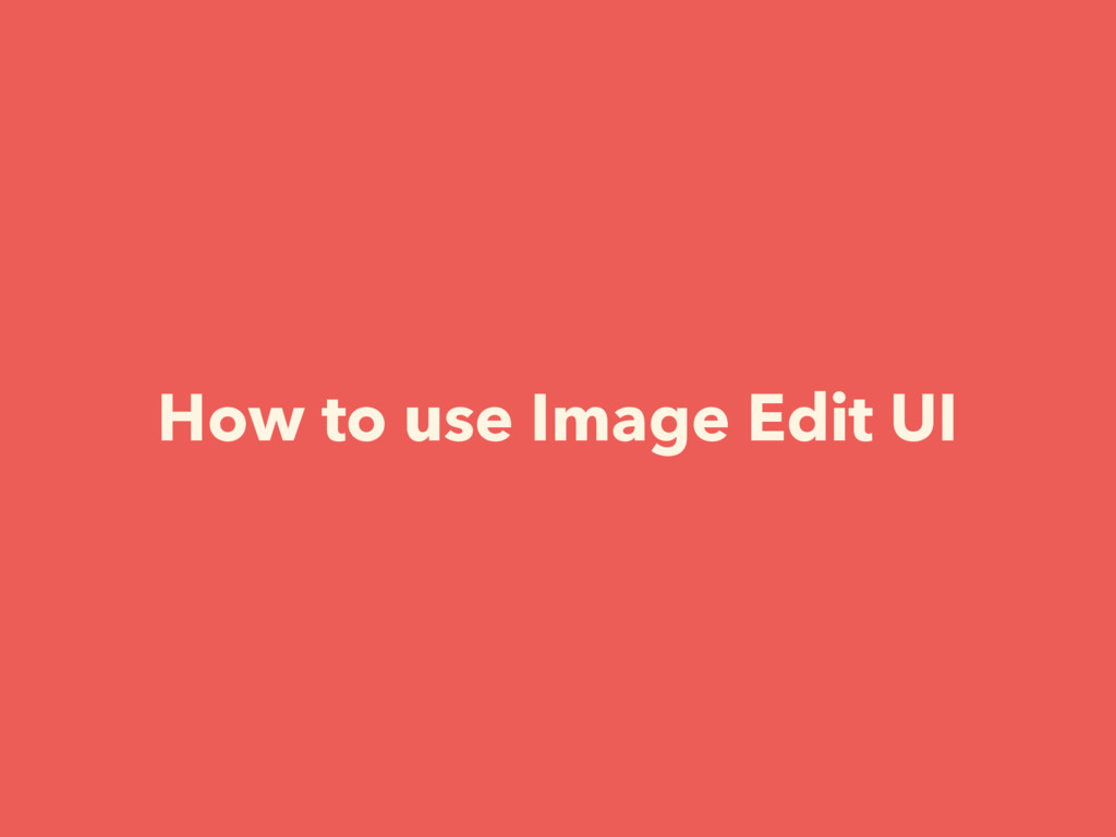 How to use Image Edit UI