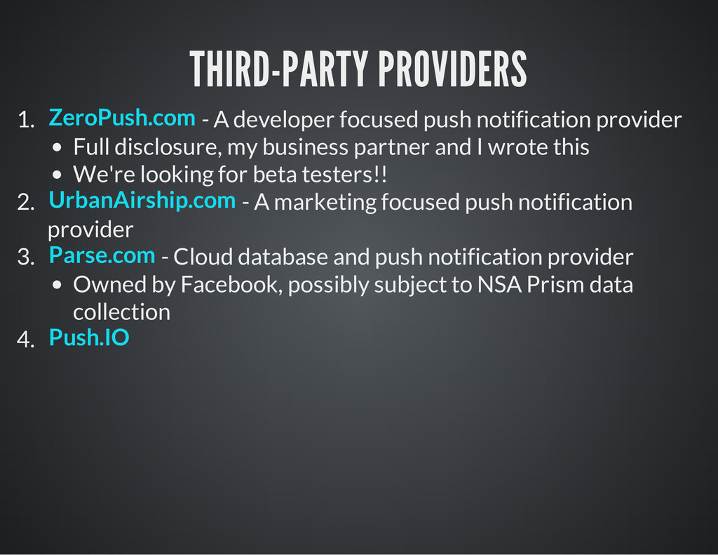 THIRD-PARTY PROVIDERS 1. - A developer focused ...
