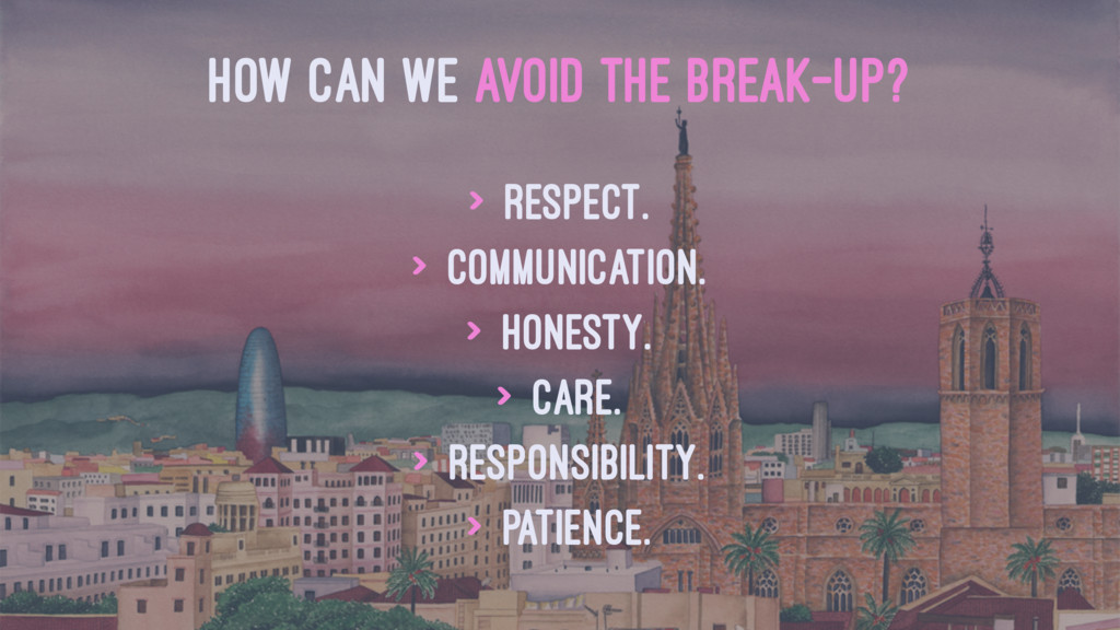 HOW CAN WE AVOID THE BREAK-UP? > Respect. > Com...
